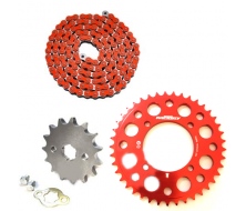 Pack Chaine CNC YCF Rouge/Rouge (420/17mm) pour Dirt Bike