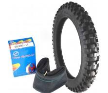 """Set Tyre Cross Vee Rubber + Inner Tube 14"""" Front"""