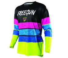 Maillot Enfant SHOT FREEGUN Stripe Neon Yellow/Bleu/Pink (2021)