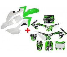 Set Graphics Kit FREEGUN DEEP + Plastics Kit CRF110 Green