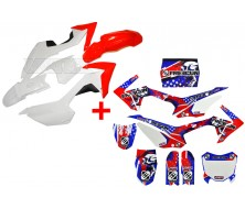 Set Graphics Kit FREEGUN US + Plastics Kit CRF110 Red