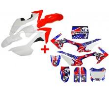 Set Graphics Kit FREEGUN US + Plastics Kit CRF110 Red