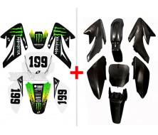 Set Plastics Kit Black or Red+ Graphics Kit ROCKSTAR CRF70